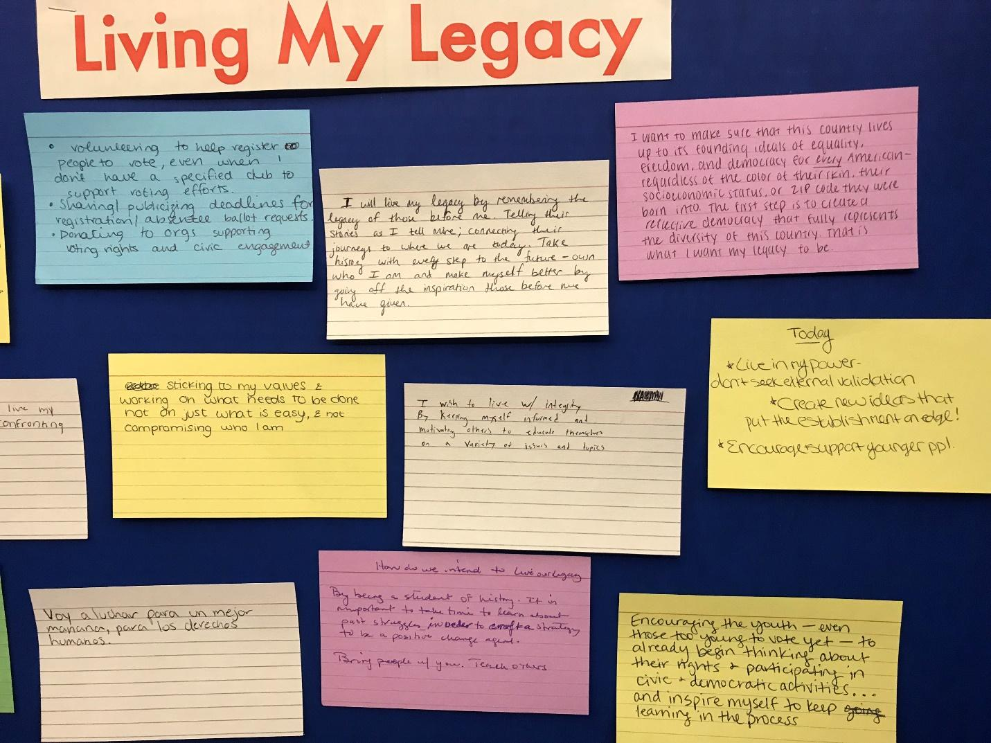 "College students in the Vote Everywhere Project posted plans for how to ""live the legacy"" of Andrew Goodman, for whom the AGF Foundation is named. Photo credit: Julia Sommer."