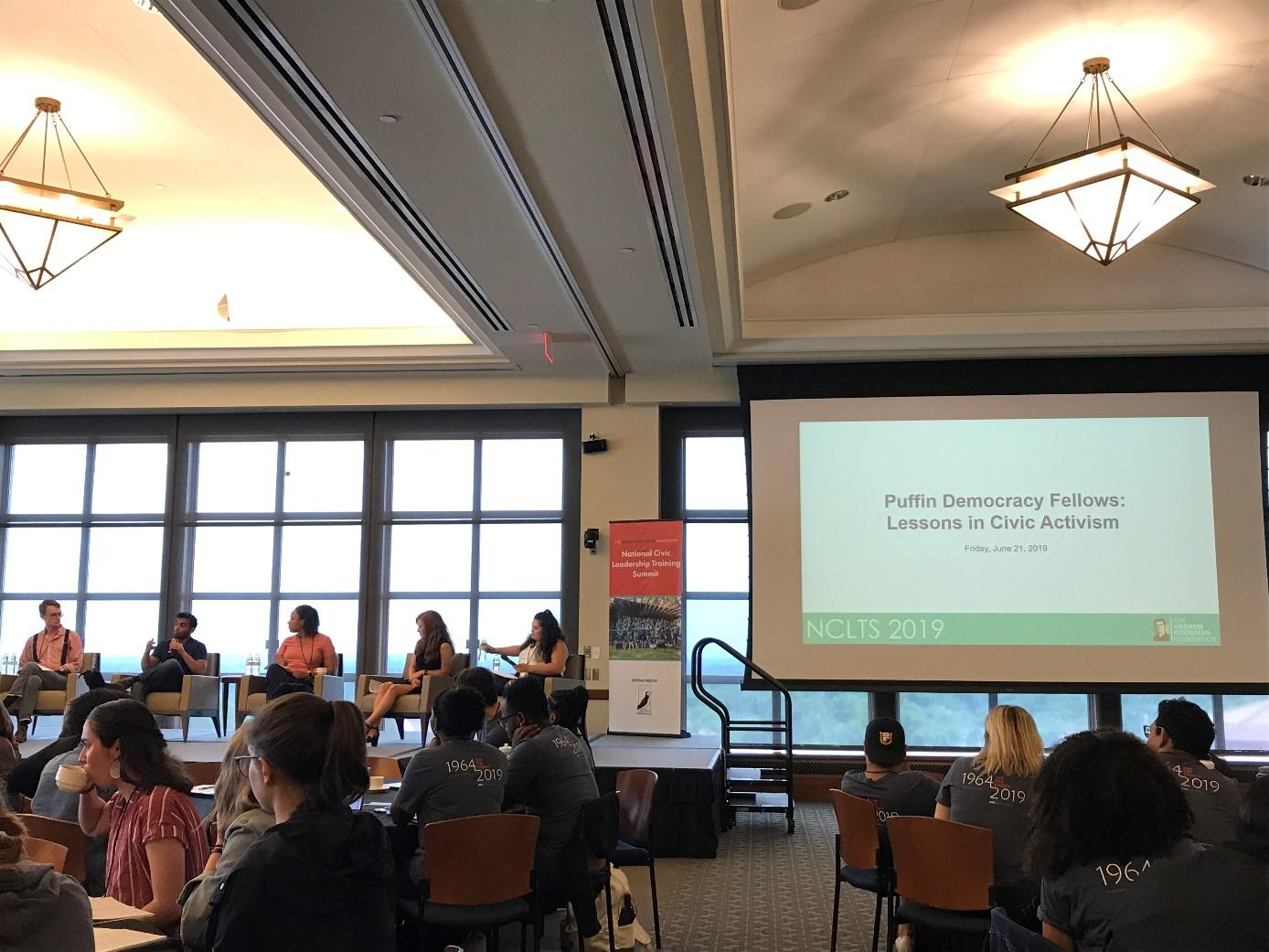 Student panelists share lessons in civic activism at the National Civic Leadership Training Summit, run by the Andrew Goodman Foundation and held this year at Montclair State University. Photo credit: Julia Sommer