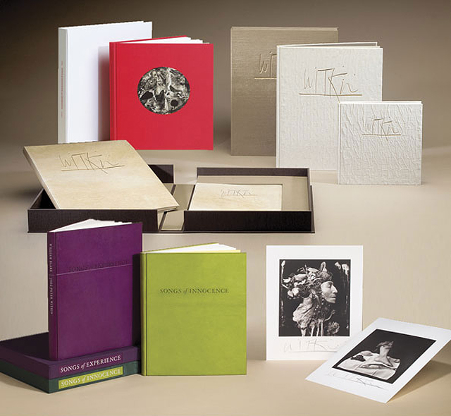 A unique set of gouache-over-platinum prints by Witkin (from a series of 5 unique sets)   accompany this set of Platinum Series books,  Songs of Experience  and  Songs of Innocence  .