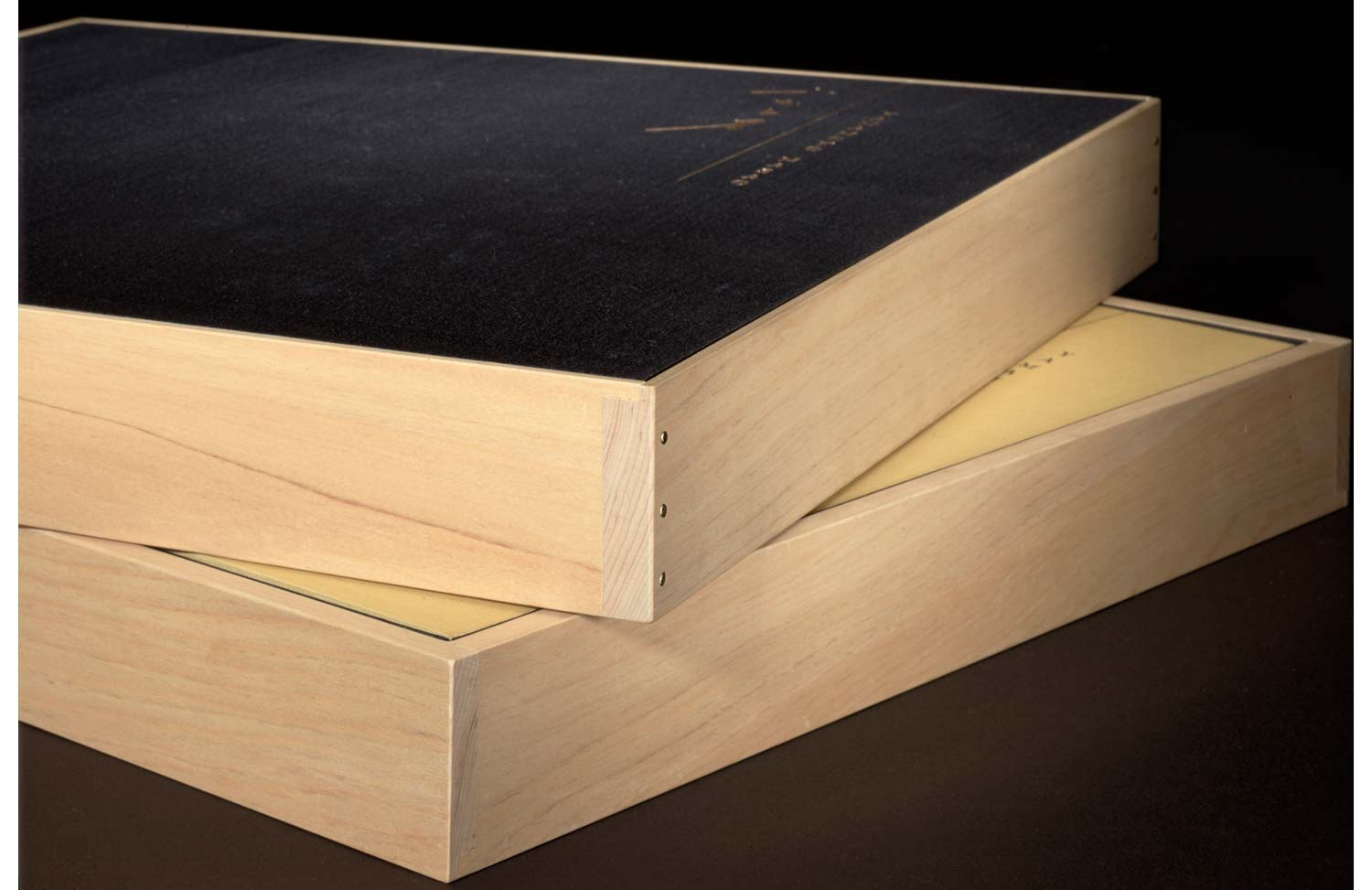 Close-up of the cedar box for the Deluxe Edition