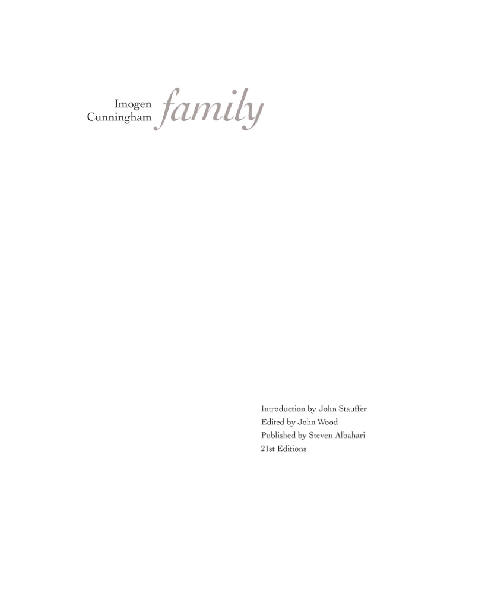 Imogen Cunningham: Family