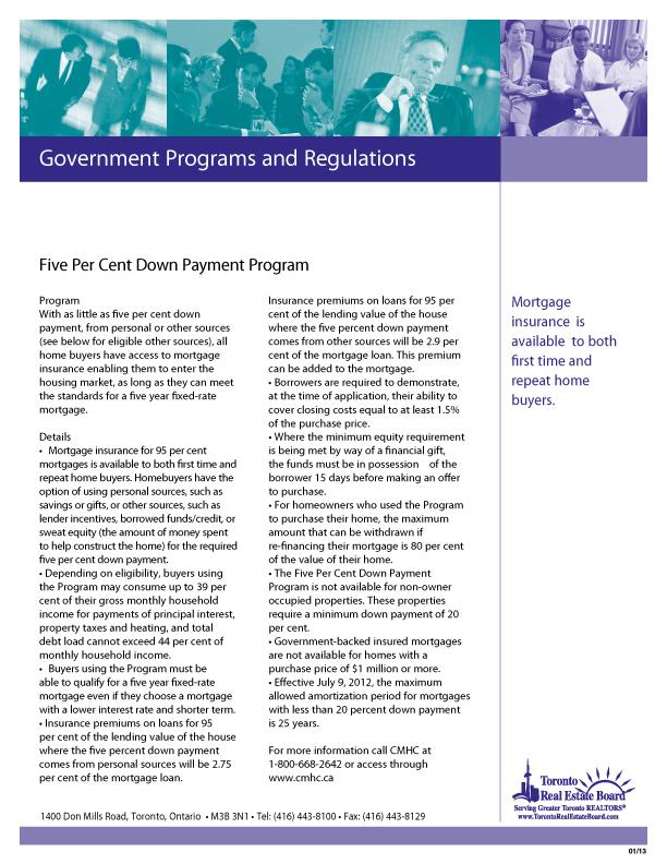 Five Percent Down Payment Program   Download PDF