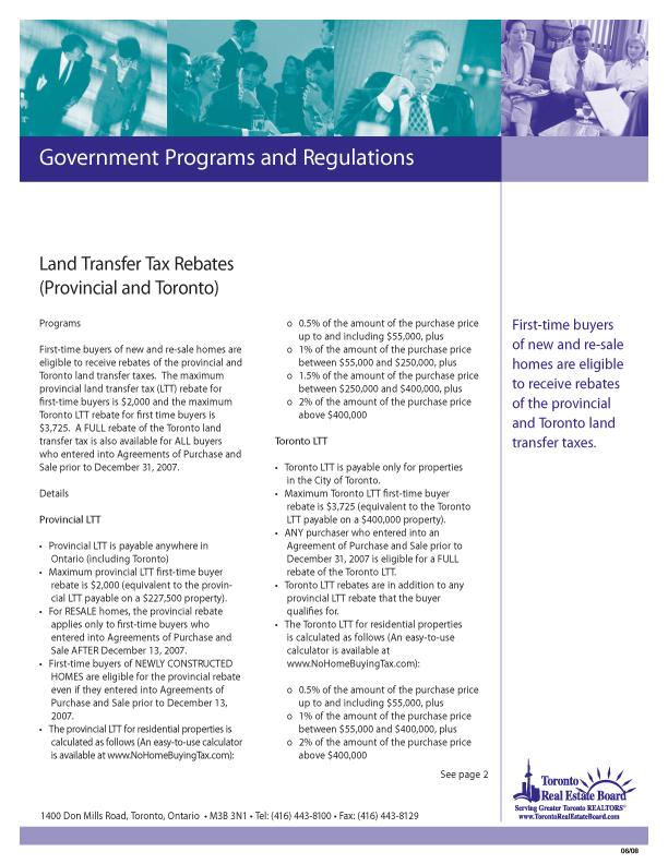 Land Transfer Tax Rebates   Download PDF