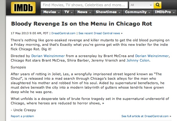 A lil IMDB love, thanks Uncle Creepy @ dreadcentral.com for your legit posts!