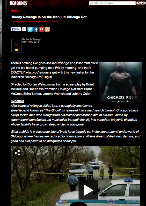 Uncle Creepy's post to dreadcentral.com great site for everything horror.