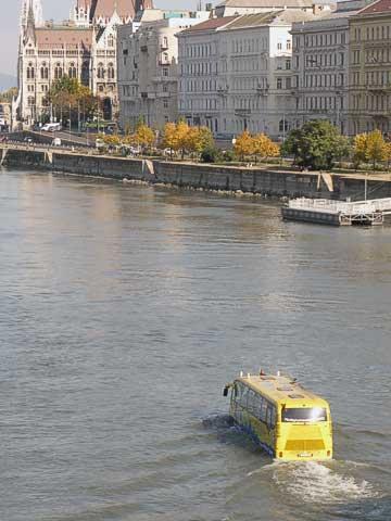 Amphibious bus in the Danube