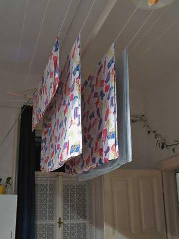 Laundry rack in Mariá and István's kitchen
