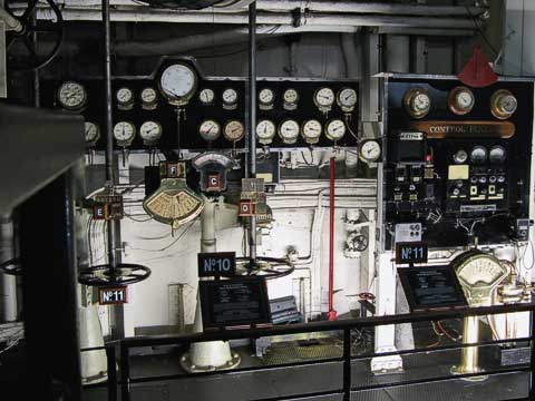 Valves and dials in the engine room