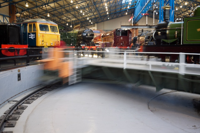 Demonstration of the turntable at the National Railway Museum