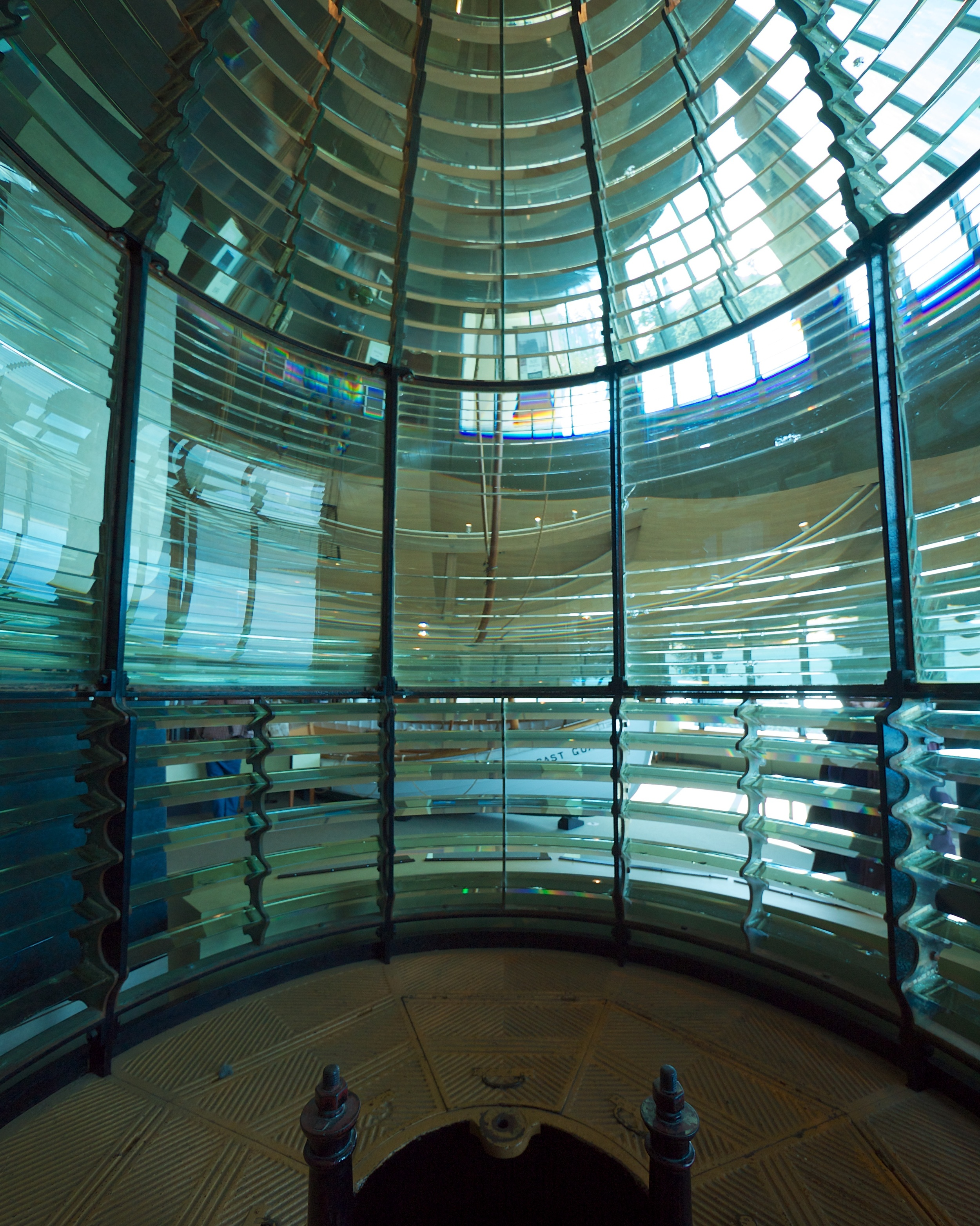 Inside view of the first-order Fresnel lens used at North Head lighthouse