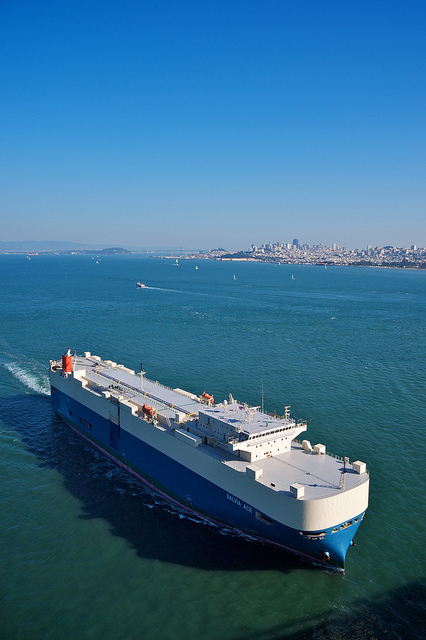 Container ship leaving San Francisco Bay