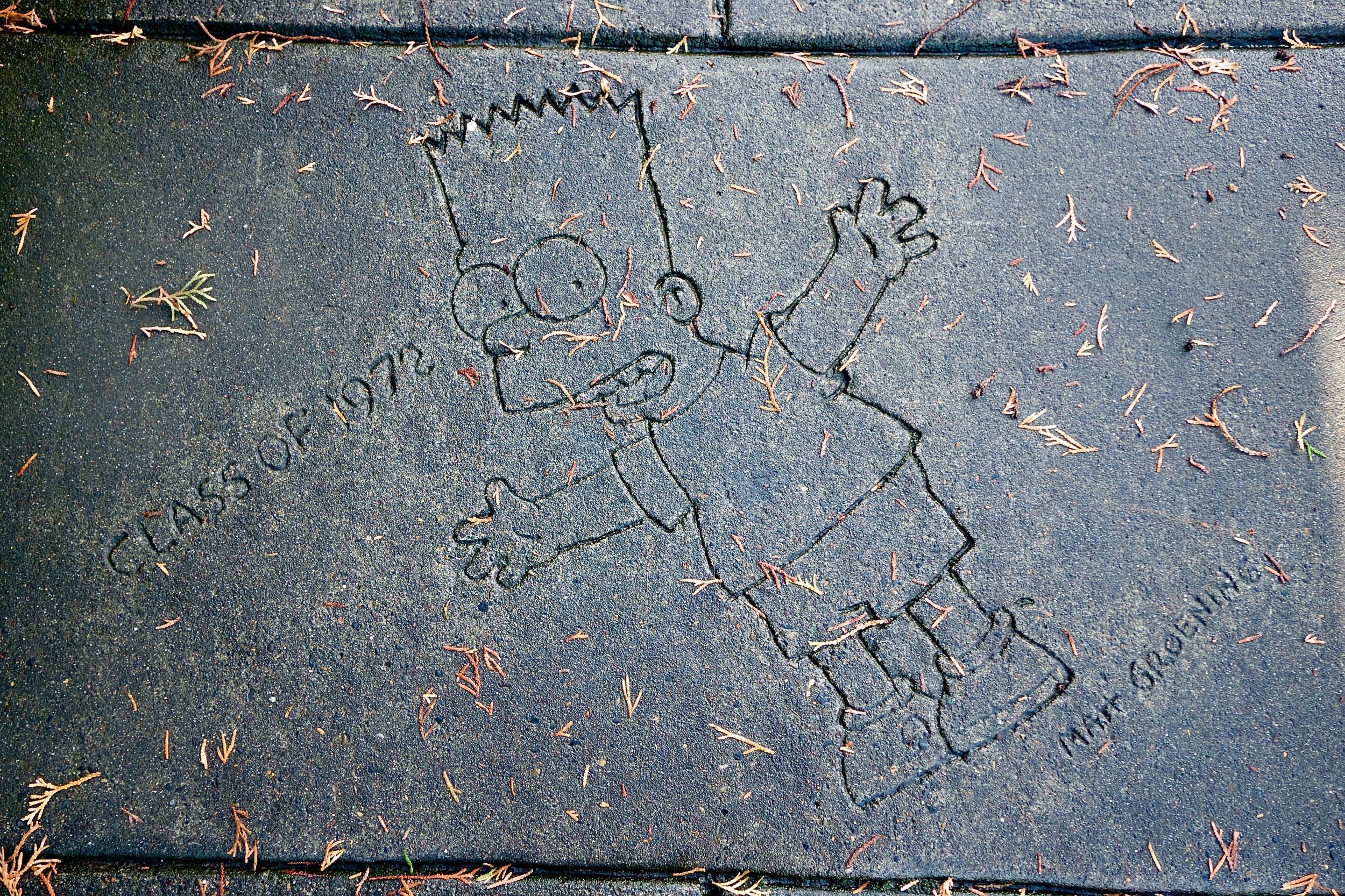 Drawing by Matt Groening in the sidewalk by Lincoln High School