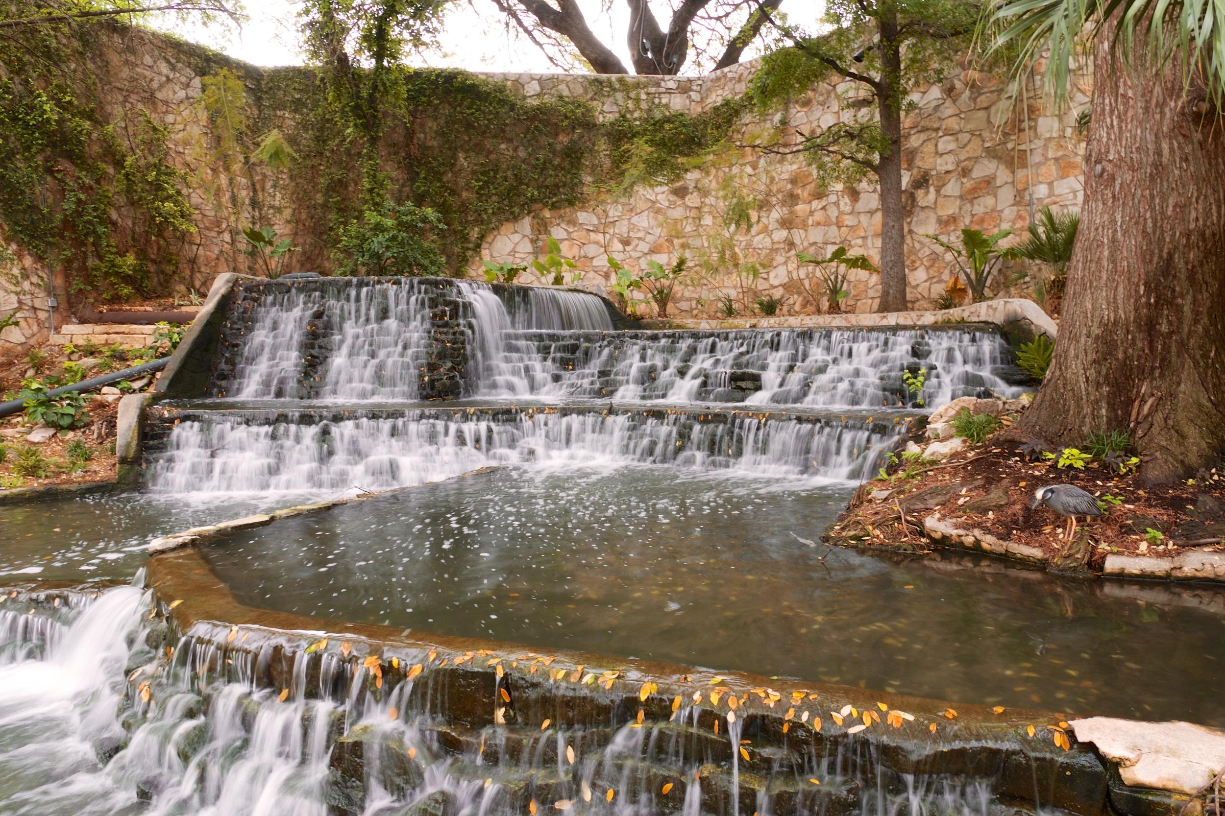 Waterfall along the San Antonio River Walk