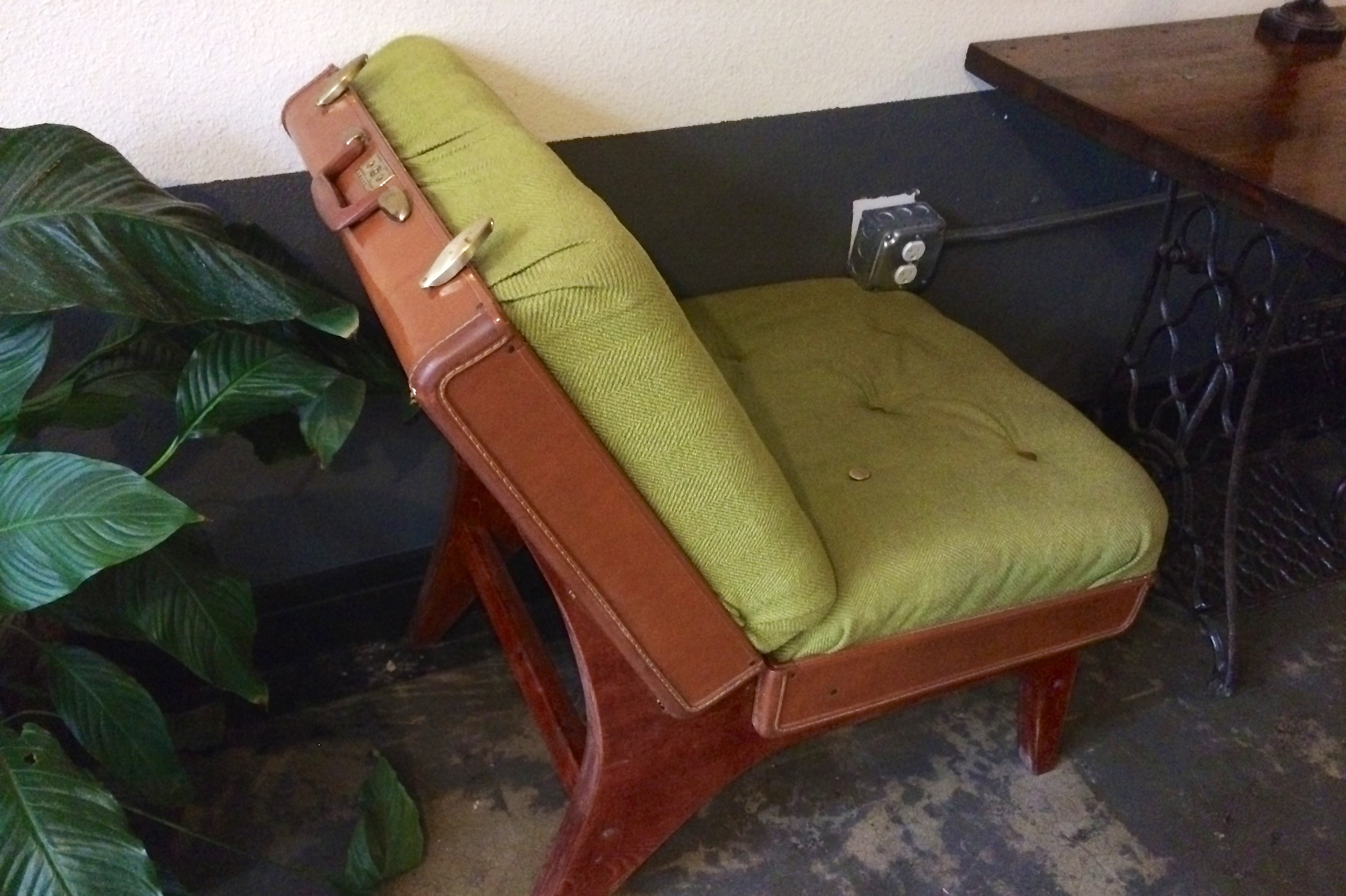 Suitcase chair at the Firehouse Hostel
