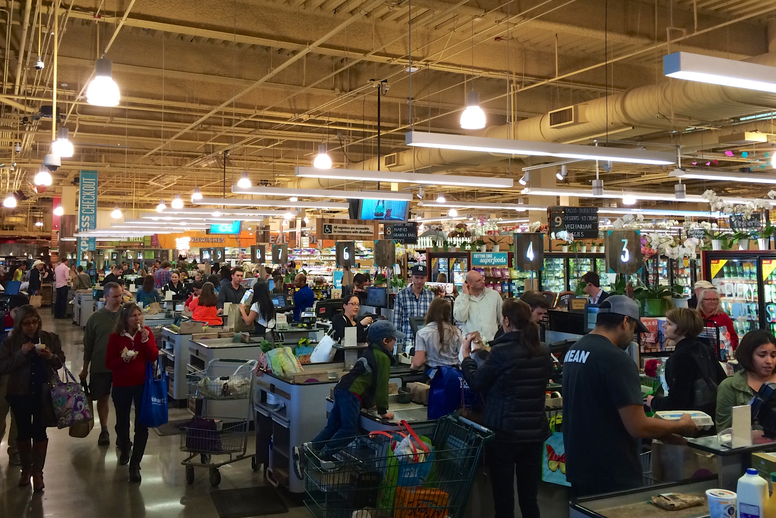 Checkout lanes at the Whole Foods Market flagship store
