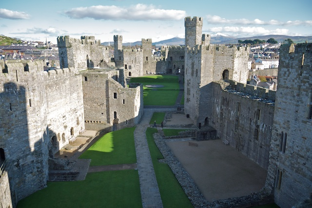 Interior of Caernarfon Castle from the Eagle Tower; the King's Gate is on the left, just past the part that juts from the wall