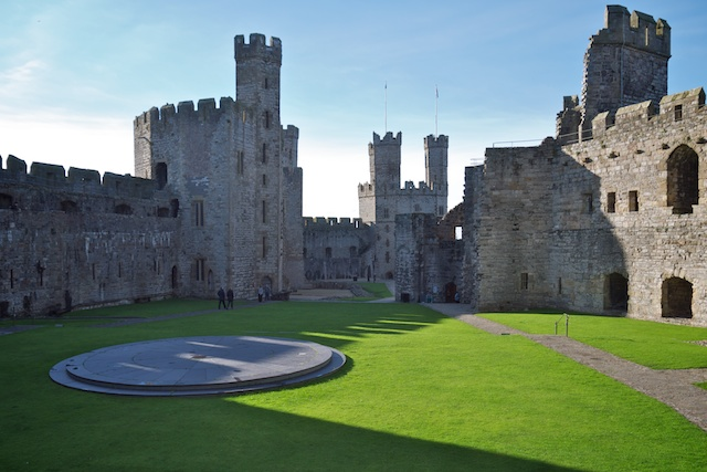 The circular platform is the site of the investiture of the prince of Wales, most recently Prince Charles