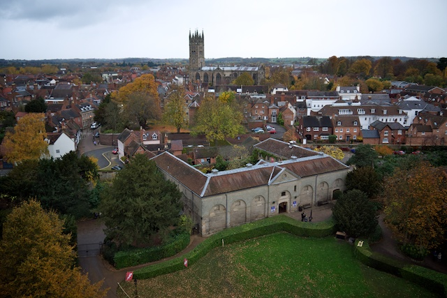 View of the town of Warwick, towards Collegiate Church of St. Mary