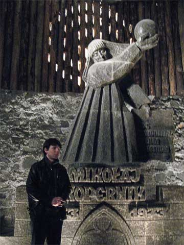 The first thing you see when you reach the first level down is this statue of Copernicus, who visited the mine in the 15th century.