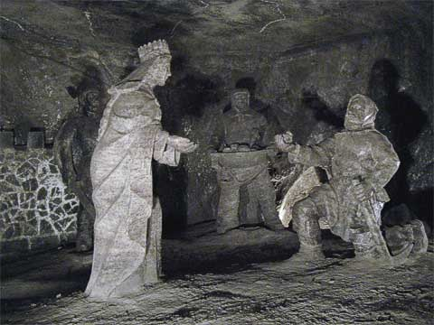 These sculptures depict the legend of how salt came to be in the mines.