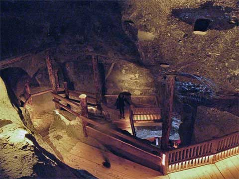 Once you're in the mines, the stairs are much wider and more than just planks and railing.
