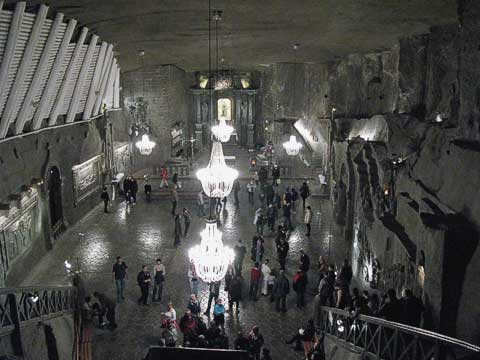 The largest chapel in the mines, Chapel of St. Kinga, was carved over three decades in the 20th century. Even the chandelier stones are made of salt.