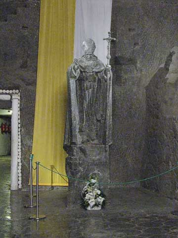 This salt sculpture of Pope John Paul II is relatively new, at least compared to the rest of the chapel.