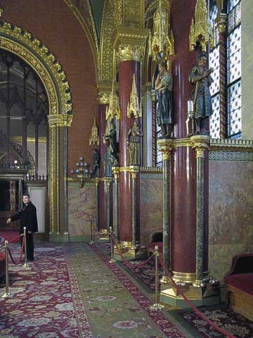 This is the lobby, and the columns are not only some of the only real marble in the building, they're also some of the few non-Hungarian materials used.