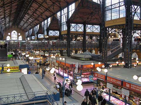 Budapest has two market halls, and this one is the Great Market Hall (Nagyvásárcsarnok). Again, it was built around the time of the Millennium Exhibition and is still very popular with both tourists and locals. This photo was taken from the mezzanines on the second level, which have souvenirs and restaurants. The basement has fish and pickled goods, while the main floor has literally everything else.