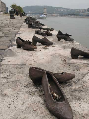 This monument of 50 pairs of bronze shoes commemorates Jews killed by the Arrow Cross (who were controlled by the Nazis) at this spot, and left to fall into the Danube.