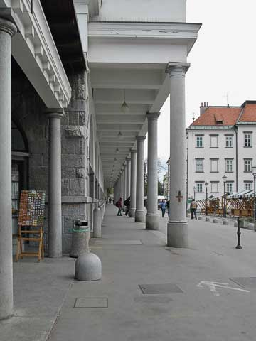 This promanade also contains a market. Just off the left of the picture is souvenirs are sold, and we found bread, cheese, and meat in the indoor shops. This market area was designed by Jože Plečnik, the architect who had literally shaped the look of Ljubljana.