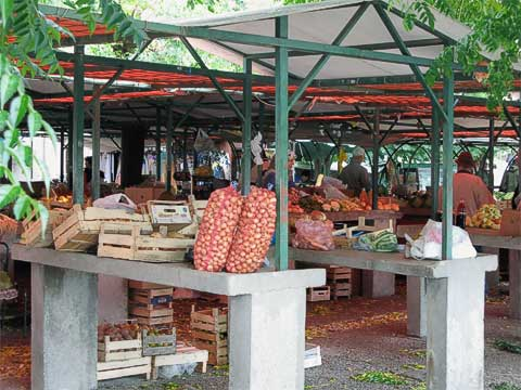 Just off the east side of Old Town is the Tepa Market, where vendors sell produce.