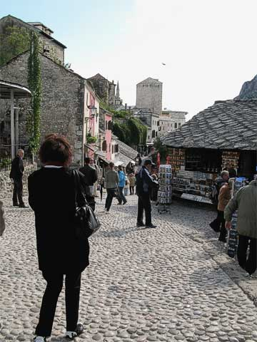 The cobbled streets of Old Town are lined with street vendors who cater to tourists. There are many coppersmiths, which accounts for the name of Coppersmiths' Street (Kujundžiluk). For some of the stores, the vendors work and live upstairs.