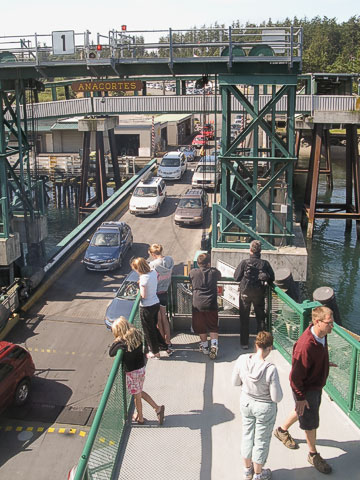 Cars boarding the ferry.