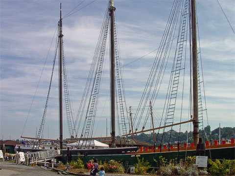 The Wanona , a three-masted schooner, was built in 1987 in California and now calls Seattle its home. In 1970, she was the first ship to be listed as a historic ship on the National Register. When in service, she carried lumber, salt cod, military supplies, and aircraft industry materials.
