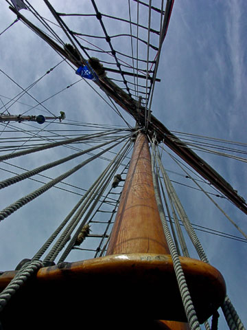 Looking up the mast of the North Star . This full-rigged ship was built in 1935 in California for two Inuit traders, and transported furs to market in Alaska. It was found abandoned on a Canadian beach in 1968, and now sails out of Herschel Island, Victoria, B.C.