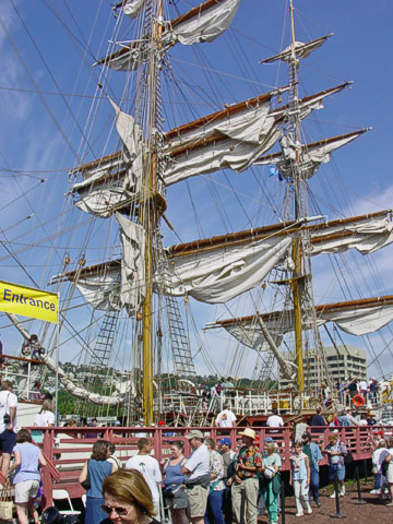 For the ships which were near the Center itself, there were lots of people waiting to board them. This one is the Europa , originally built in 1911 in Germany. She has barque rigging and a steel hull, and has a home port of Amsterdam, The Netherlands.