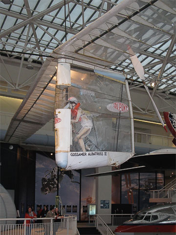 The Gossamer Albatross II is the backup of the second plane to achieve human-powered flight (Frank went to summer school with inventor Paul MacCready's son).