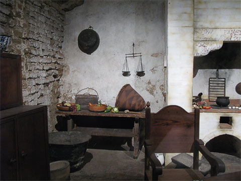 Part of the kitchen. You can see some of the original adobe on the left.