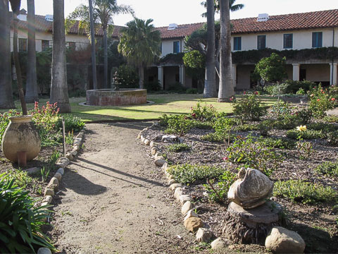 Mission garden next to the main chapel. Chumash Indians learned trades in this area, and workshops and living quarters were in the surrounding buildings.