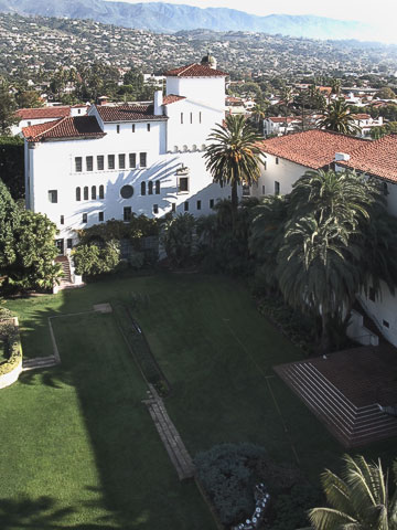 View of the courthouse sunken garden from the tower