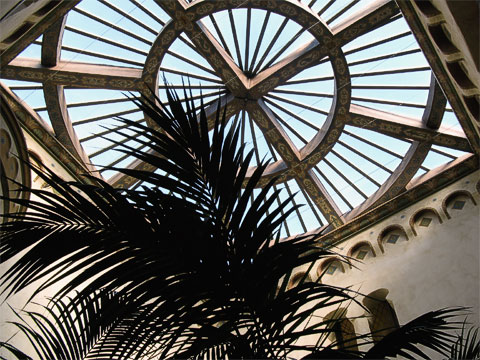 The window in the atrium of the Hall of Records, which was restored in 2006.
