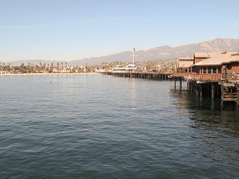View of the Santa Barbara coast from the end of the wharf.