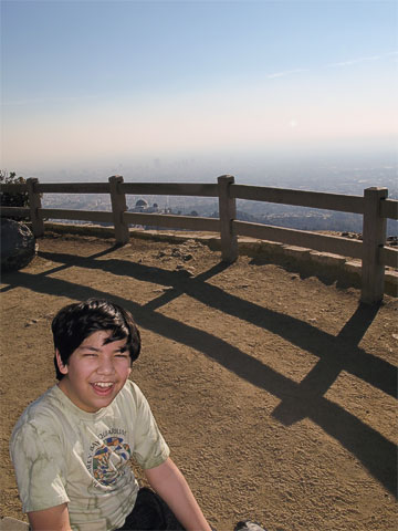 Tynor on the top of Mount Hollywood. You can see the observatory between the fence rails.