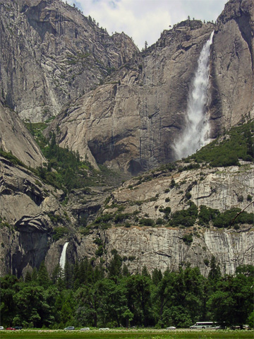 Yosemite Falls also had quite a bit of water going through them. This is the view from Yosemite Valley.