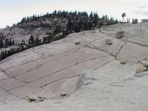 Olmstead Point, on the Tioga Road. The boulders are called glacial erratics, since they are carried by glaciers far from where they originated.