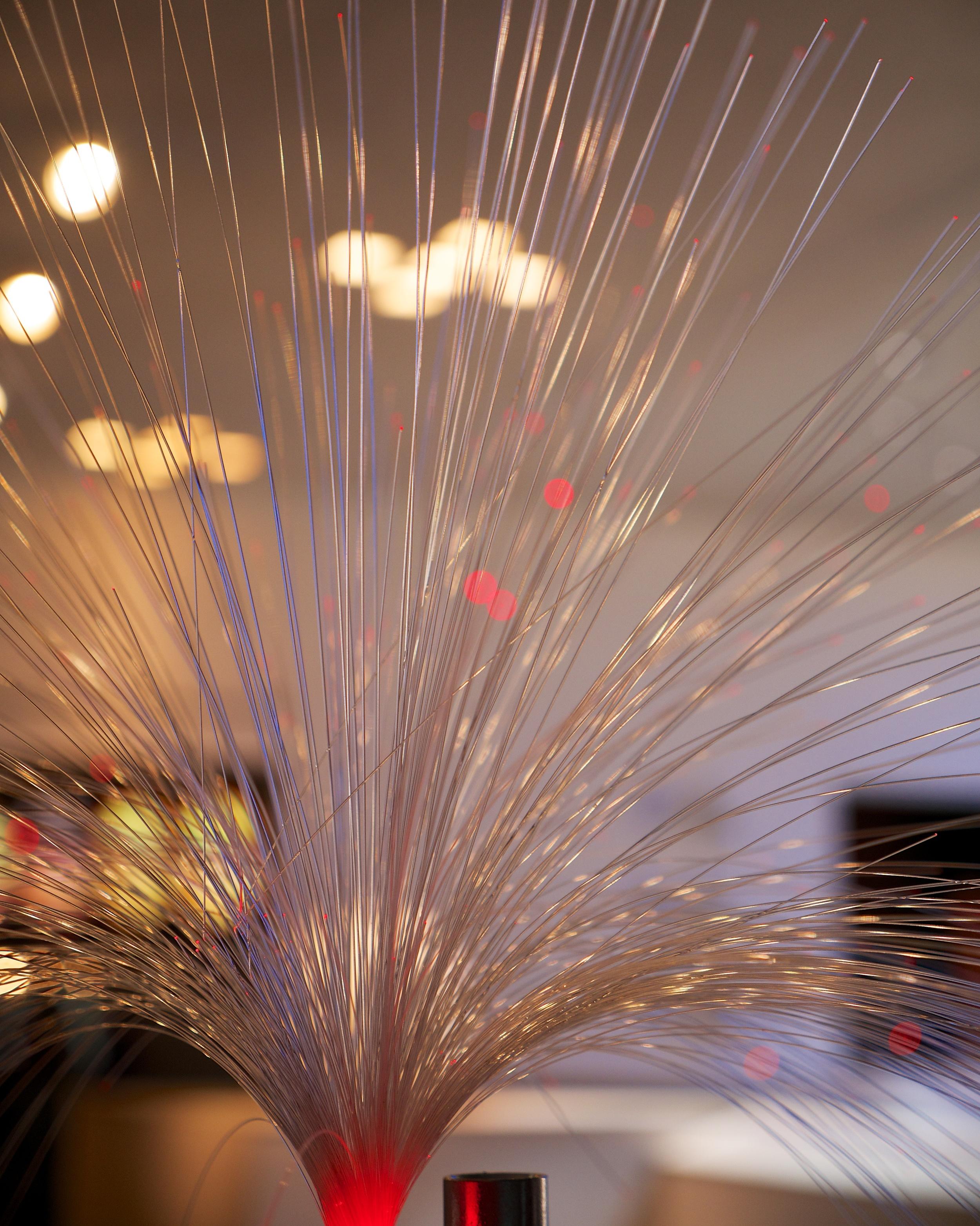 Fiber optic fibers making up a robot's hair