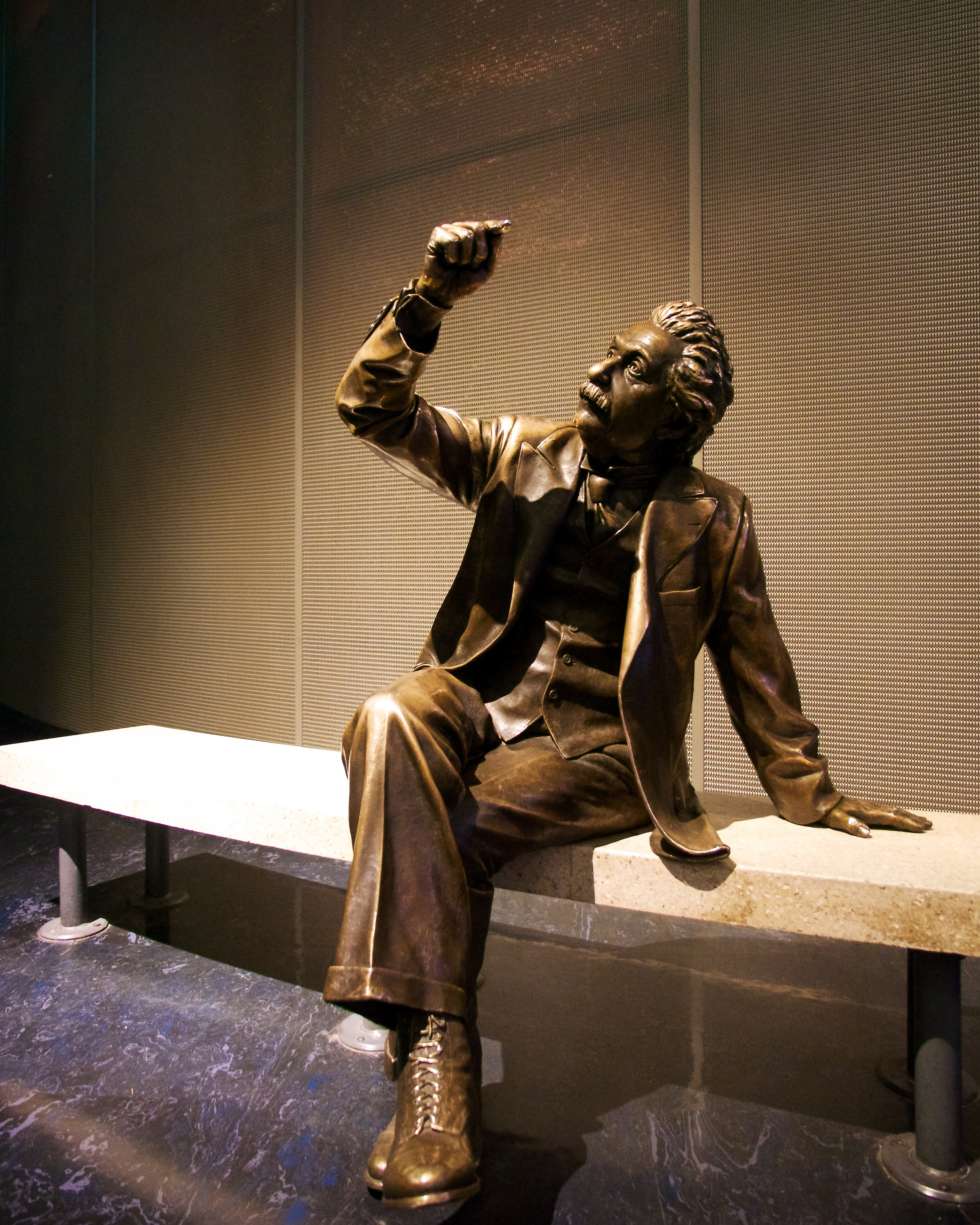 This statue of Albert Einstein demonstrates how many stars are represented in The Big Picture
