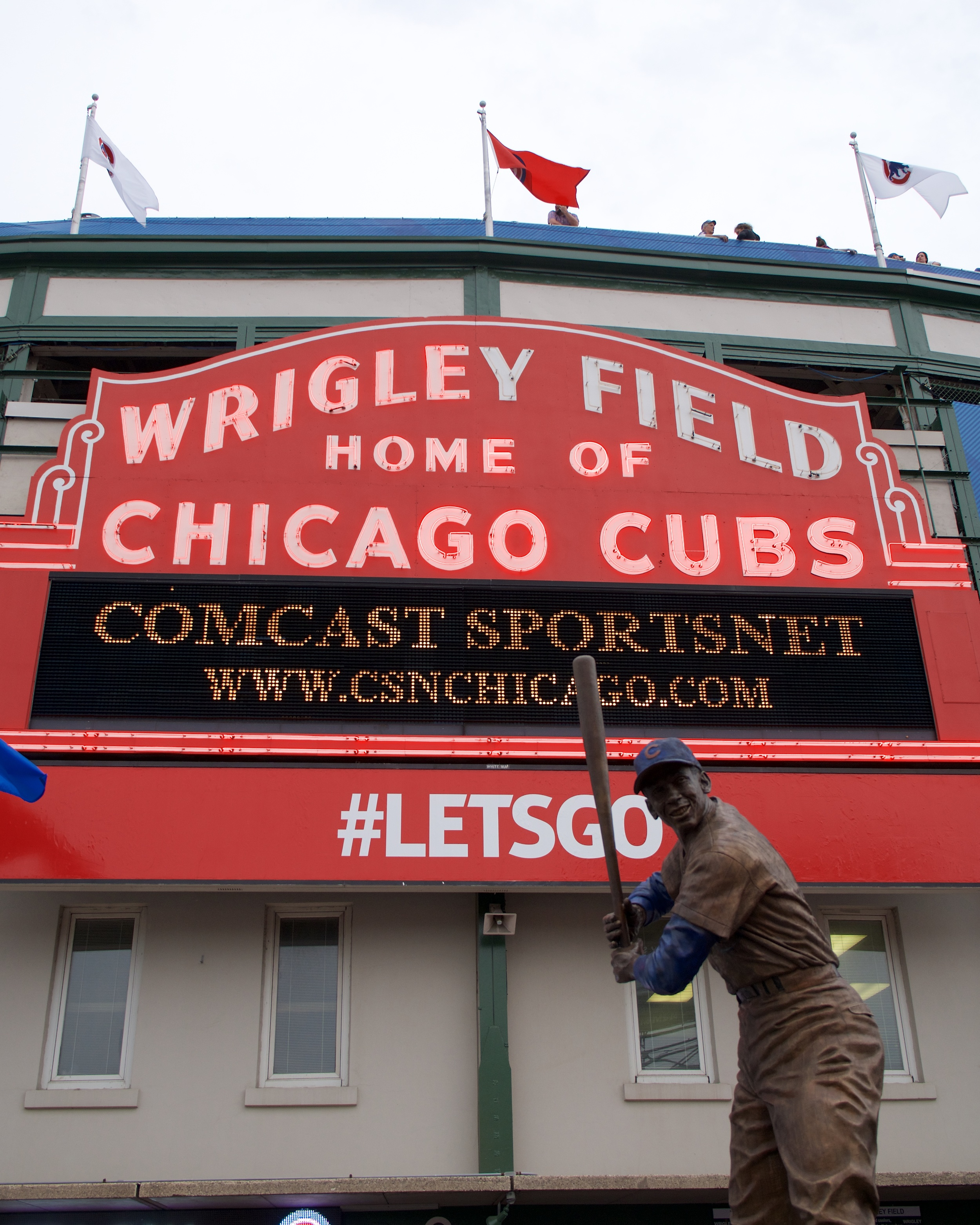 Ernie Banks in front of Wrigley Field