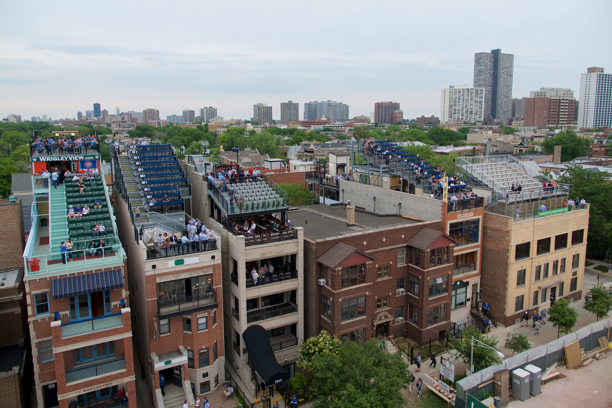Seats on top of buildings outside of Wrigley Field